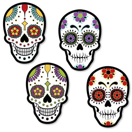 Day Of The Dead - Shaped Halloween Sugar Skull Party Cut-Outs - 24 Count