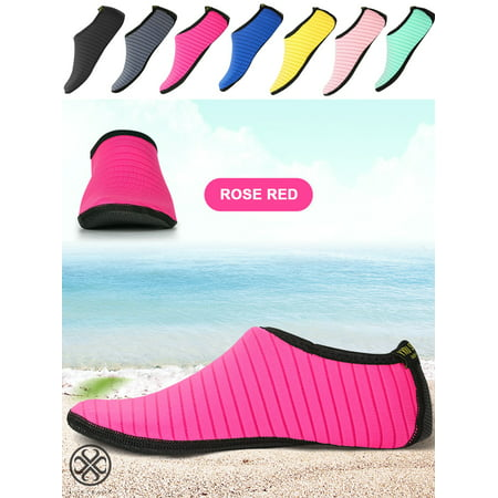 Luxtrada Womens and Mens Water Shoes Quick-Dry Aqua Strip Socks Barefoot Beach Socks for Outdoor Beach Swim Surf Yoga Exercise
