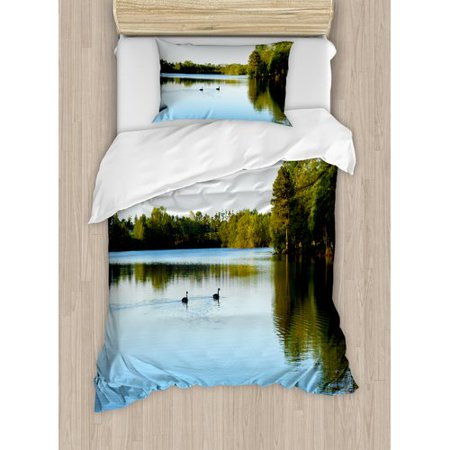 Ambesonne Outdoor View from Carate Urio Town Lake Como Alps Italy Panorama European Rural Countryside Duvet Cover Set
