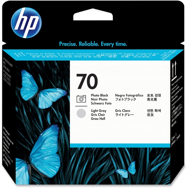HP 70 Photo Black & Light Gray Original Ink Cartridge Printhead in Retail Packaging, C9407A