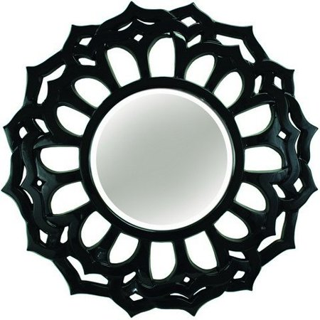 A&A Art Gallery PU233S Glossy Black Sunburst Flower Mirror
