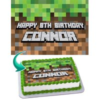 "Minecraft Pixel Style Edible Cake Image Topper Personalized Birthday Party 1/4 Sheet (8""x10.5"")"