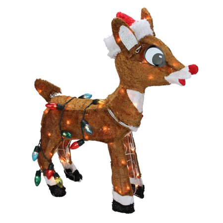 Rudolph The Red Nosed Reindeer Christmas 24 Prelit Standing Outdoor Decoration Clear Lights