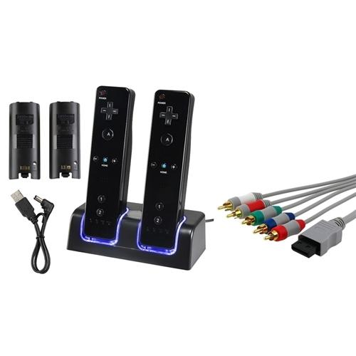 Insten HD Component AV Cable + Remote Controller Charger with 2-pack 2800mAh Rechargeable Battery For Nintendo Wii
