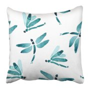 BPBOP Colorful Cute Watercolor Repetitive with Colorfull Dragonfly Silhouette on White Bright Green Color Pillowcase Pillow Cushion Cover 16x16 inch