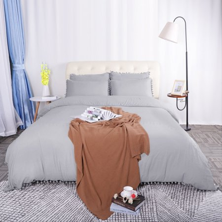 Pompons Duvet Cover and Sham Set Twin Size Bedding Soft Washed Cotton, Gray ()