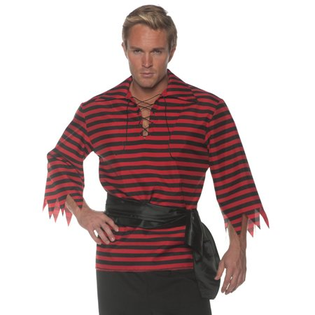 Black Red Stripped Pirate Buccaneer Adult Costume Accessory Shirt