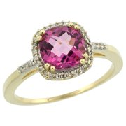 10K Yellow Gold Diamond Natural Pink Topaz Ring Cushion-cut 7x7mm, sizes 5-10