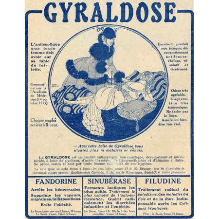 French Advertisement C1916 For Gyraldose An Antiseptic Feminine Hygiene Product Canvas Art - Ken Welsh Design Pics (26 x 34)