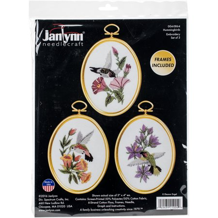 Hummingbirds Embroidery Kit Set of 3, 3