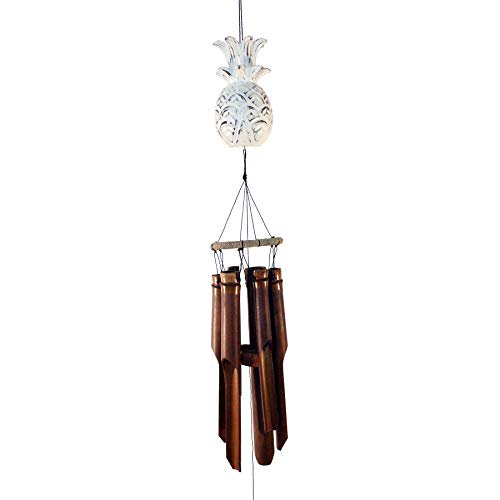 Cohasset Gifts 148pw Cohasset Carved Pineapple Bamboo Wind Chime Distressed White Finish Walmart Com Walmart Com