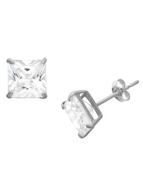 Sterling Silver Men's 8Mm Square Cz Stud