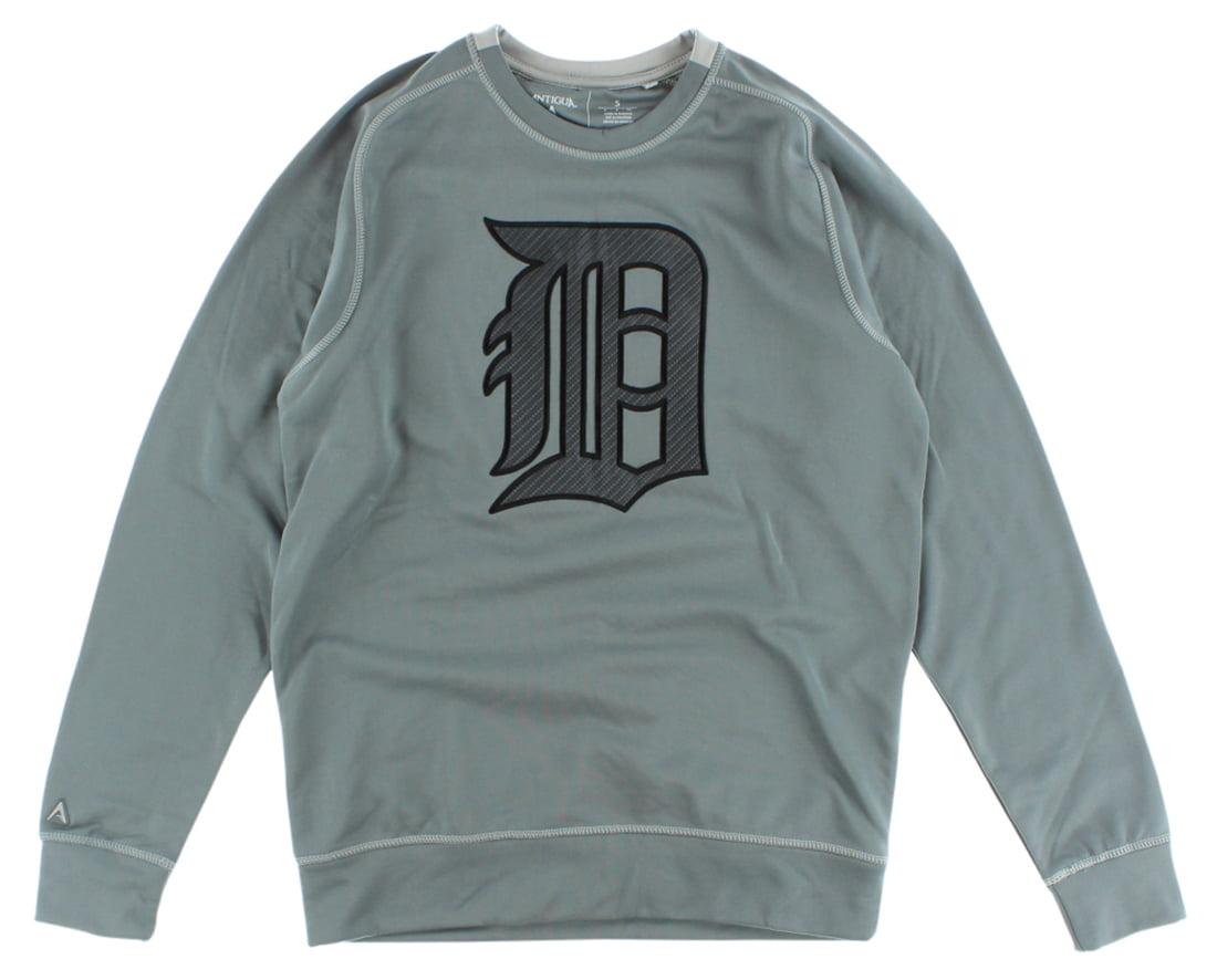 Antigua Mens Detroit Tigers MLB Carbon Crew Sweatshirt Grey by