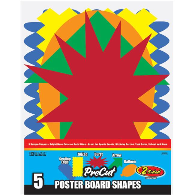 Bazic  -48  Fluorescent Pre-Cut Poster Board Shapes (5/pack) Case of 48