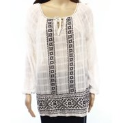 Max Studio NEW White Embroidered Women's Size Large L Peasant Blouse