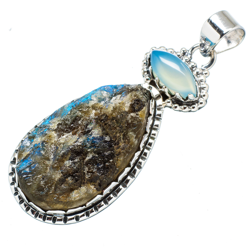 "Ana Silver Co Rough Labradorite, Aqua Chalcedony 925 Sterling Silver Pendant 2"" PD612878 by Ana Silver Co."