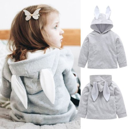 Toddler Baby Girl Cute Plain Bunny Lightweight Hoodie with Ears Hooded Tops - Hoodie With Ears