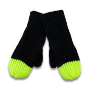 Soft Black Knit Mittens with Neon Tips