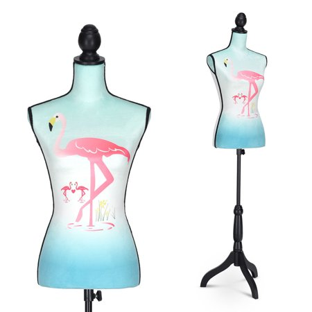 Costway Height Adjustable Female Mannequin Torso Dress Form Display w/Black Tripod - Cosplay Female Characters