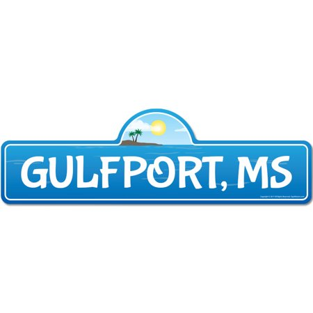 Gulfport, MS Mississippi Beach Street Sign | Indoor/Outdoor | Surfer, Ocean Lover, Décor For Beach House, Garages, Living Rooms, Bedroom | Signmission Personalized Gift ()