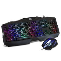 rii gaming keyboard and mouse combo,led rainbow backlit usb wired computer keyboard 104 key,spill-resistant design,ergonomic wrist rest keyboard mouse set for windows pc gamer. black