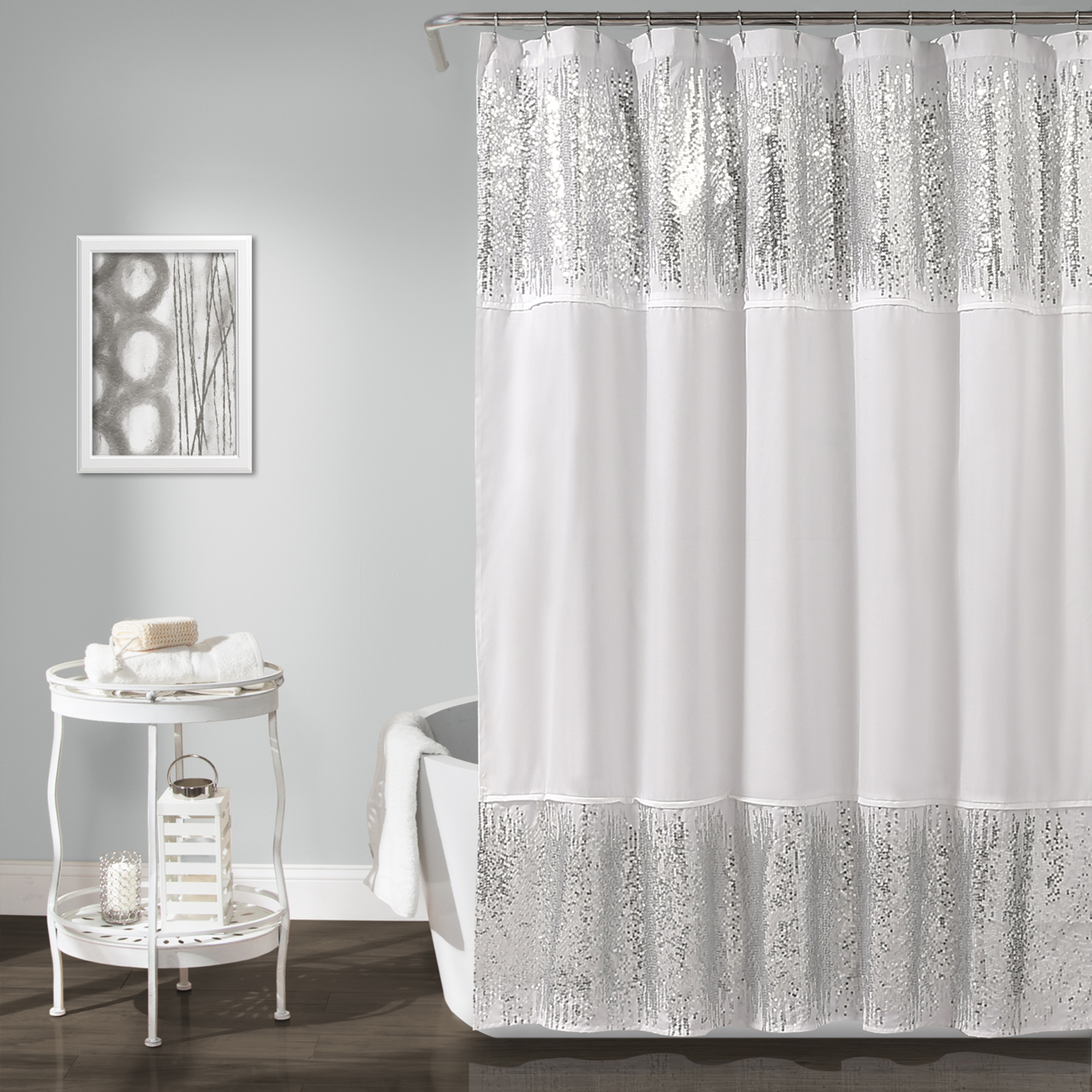 "Shimmer Sequins Shower Curtain Silver, 70"" x 72"""