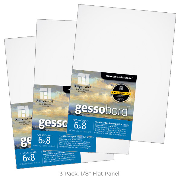 """Ampersand Museum Series Gessobord? Panel 1/8"""" Flat (3 Pack) 6x8"""""""