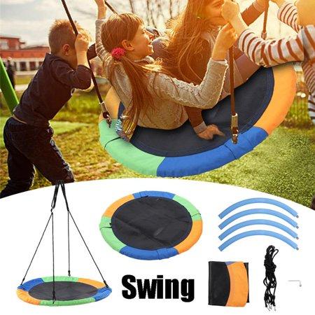 WALFRONT Multicolor Round Outdoor Toys Kids Children Tree Hanging Saucer Swing Set, Hanging Swing, Saucer Swing ()