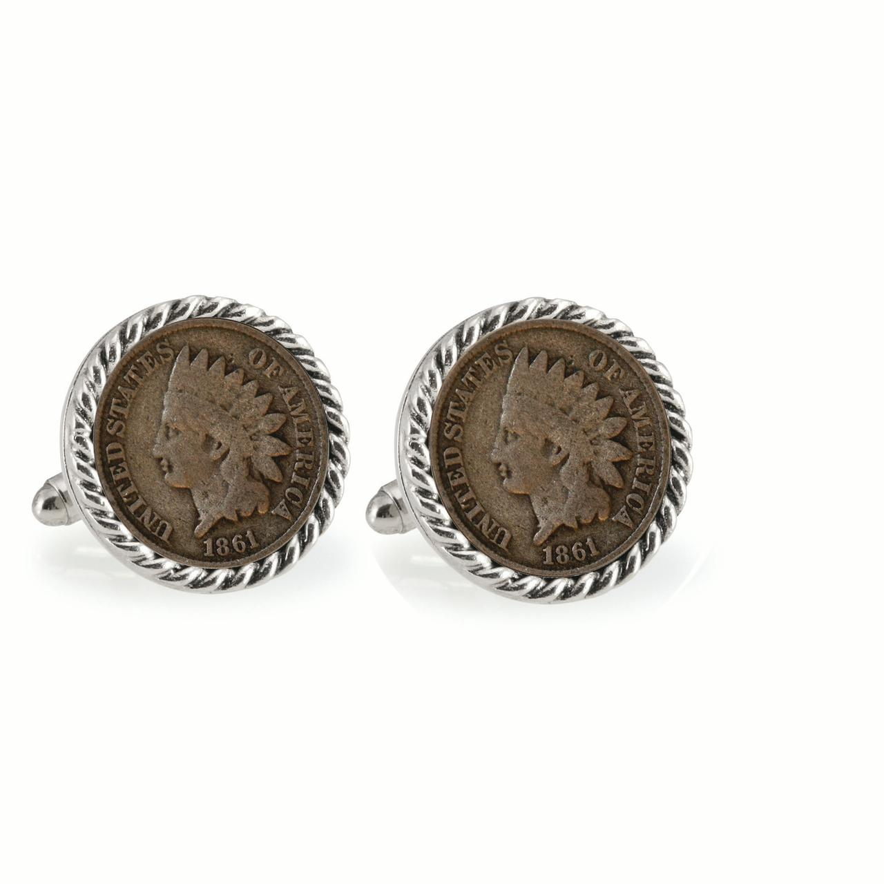 Civil War Indian Head Penny Silvertone Rope Bezel Coin Cuff Links
