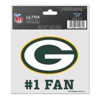 "Green Bay Packers #1 Fan 3"" x 4"" Car Window Cling Decal"
