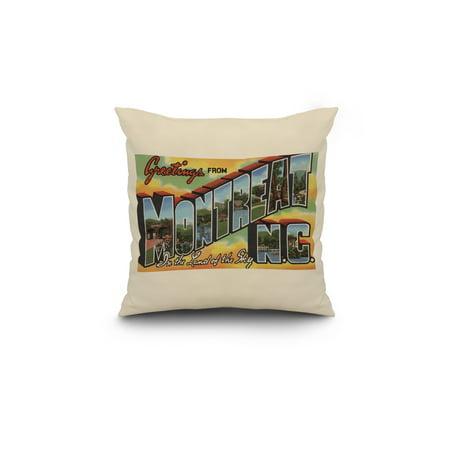 Greetings from Montreat North Carolina Yellow 18x18 Spun Polyester Pil