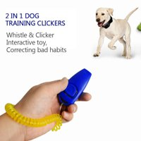 Dog Training Clickers 2 in 1 Whistle and Clicker Pet Training Tools with Wrist Strap Key Ring for Dogs Cats Pets