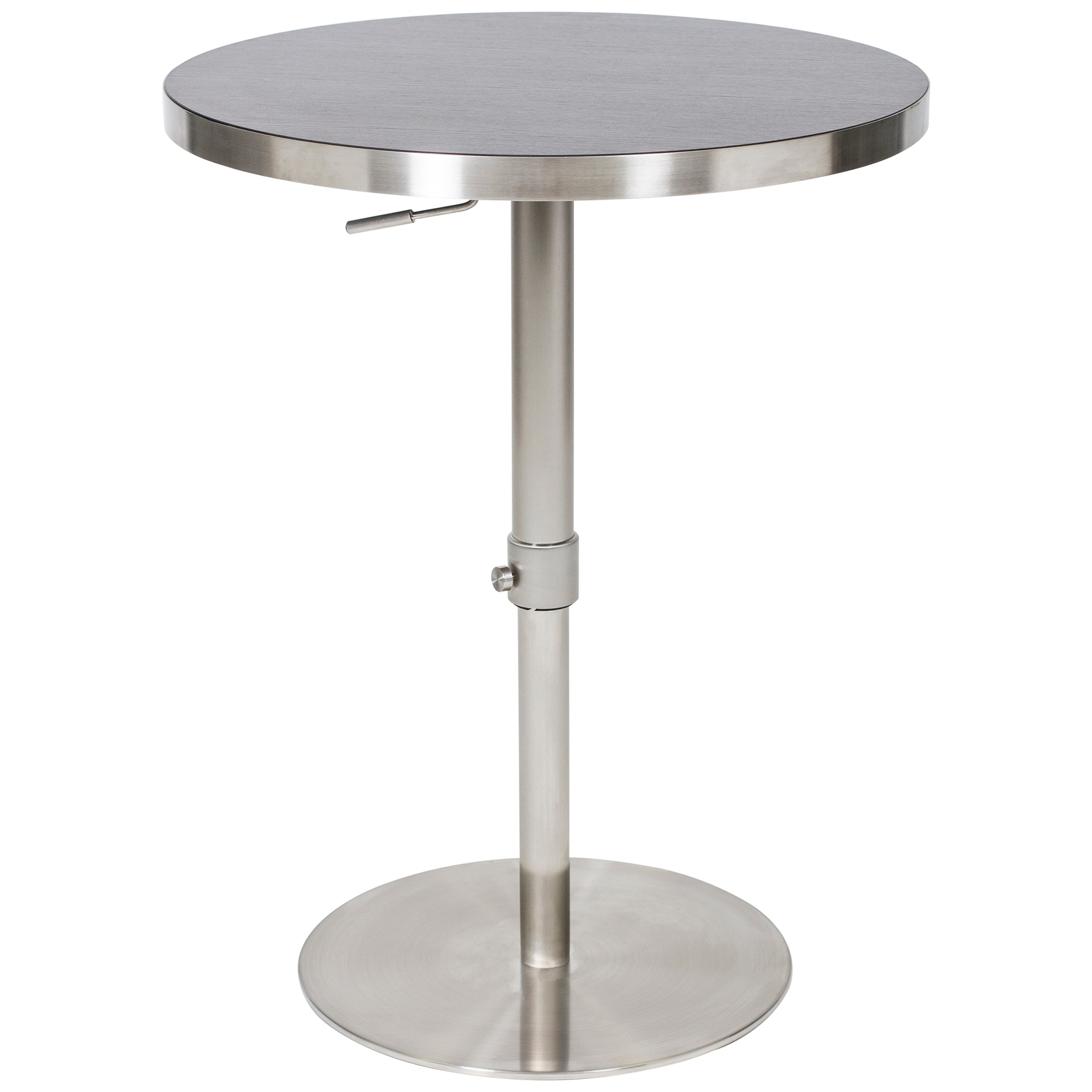 Round Stainless Base Coffee Height Tables: 36-inch Adjustable Height Round Espresso Wood