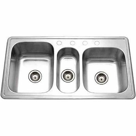 Houzer PGT-4322-1 Premiere Gourmet Series Topmount Stainless Steel 4-Hole Triple Bowl Kitchen (Premier One Portable Sink)