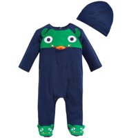 First Impressions Infant Boy 2 PC Plush Monster Jumpsuit Sleeper Hat Outfit