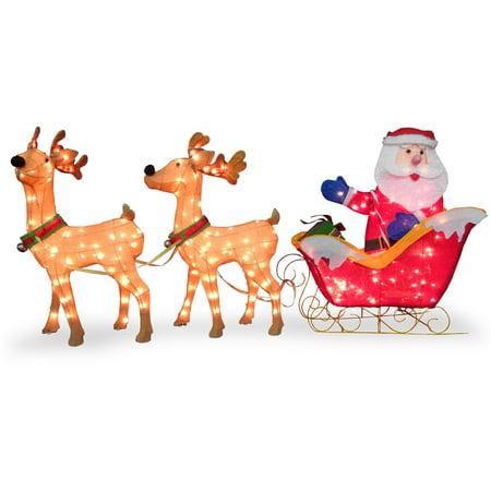 National Tree Santa with 2 Deer Sleigh Santas Magical Sleigh