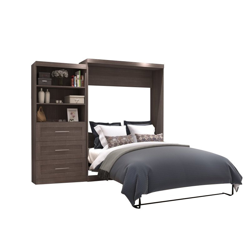 """Atlin Designs 101"""" Queen Wall Bed with Storage in Bark Gray"""