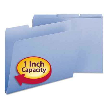Smead Recycled Folders, One Inch Expansion, 1/3 Cut Top Tab, Letter, Blue 25/Box -SMD21530