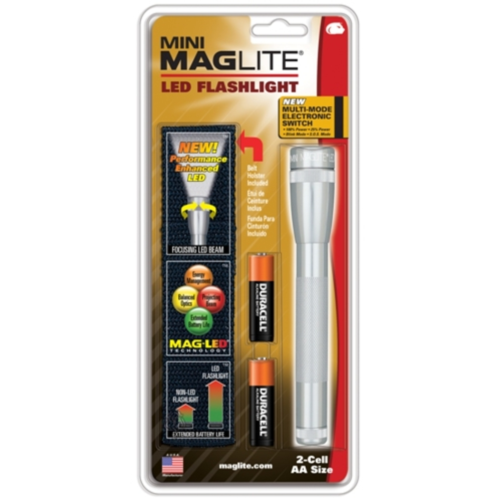 Mag Maglite 2 AA Silver LED w/ Nylon Sheath
