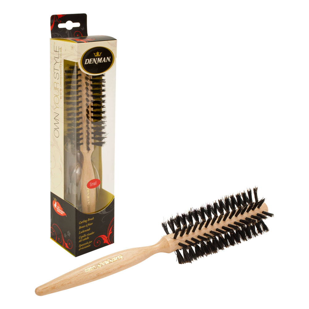 "Denman 1.77"" Small Barrel Wooden Handle Curling Hair Brush, WOOD, R032SXCD"