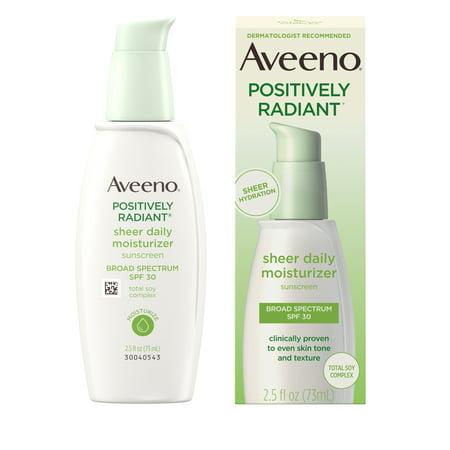 Aveeno Positively Radiant Sheer Daily Moisturizer SPF 30, 2.5 fl. oz (Aveeno Facial Moisturizer Spf 30)