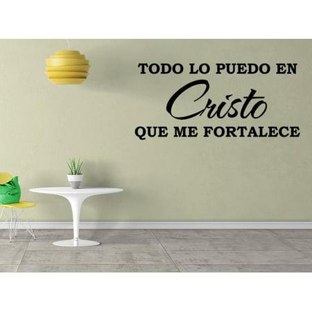 Vinilo Decorativo Para Pared Todo Lo Puedo En Cristo Que Me Fortalece SQ19