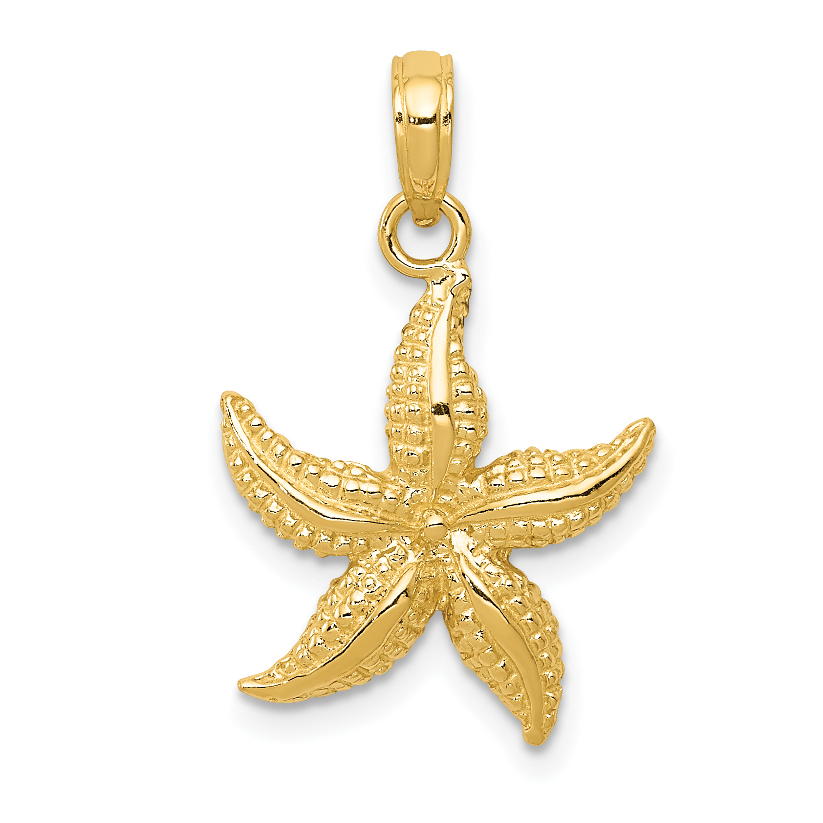 14k Yellow Gold Starfish Pendant Charm Necklace Sea Shore Shell Life Man Fine Jewelry Gift For Dad Mens For Him - image 2 of 2