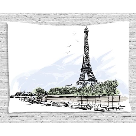 Paris Decor Tapestry, Architecture Theme Illustration of Eiffel Tower Birds and Trees Pattern, Wall Hanging for Bedroom Living Room Dorm Decor, 80W X 60L Inches, Black and White, by Ambesonne