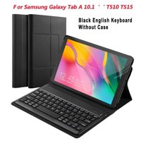 For Samsung Galaxy Tab A 10.1 T510 T515 Tablet Bluetooth Keyboard Magnetic Adsorption and Detachable Keyboard with Black Leather Case (USA Keyboard)