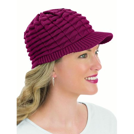 ac5b1fbdf Collections Etc. - Womens Winter Hat with Brim, One Size, Wine ...