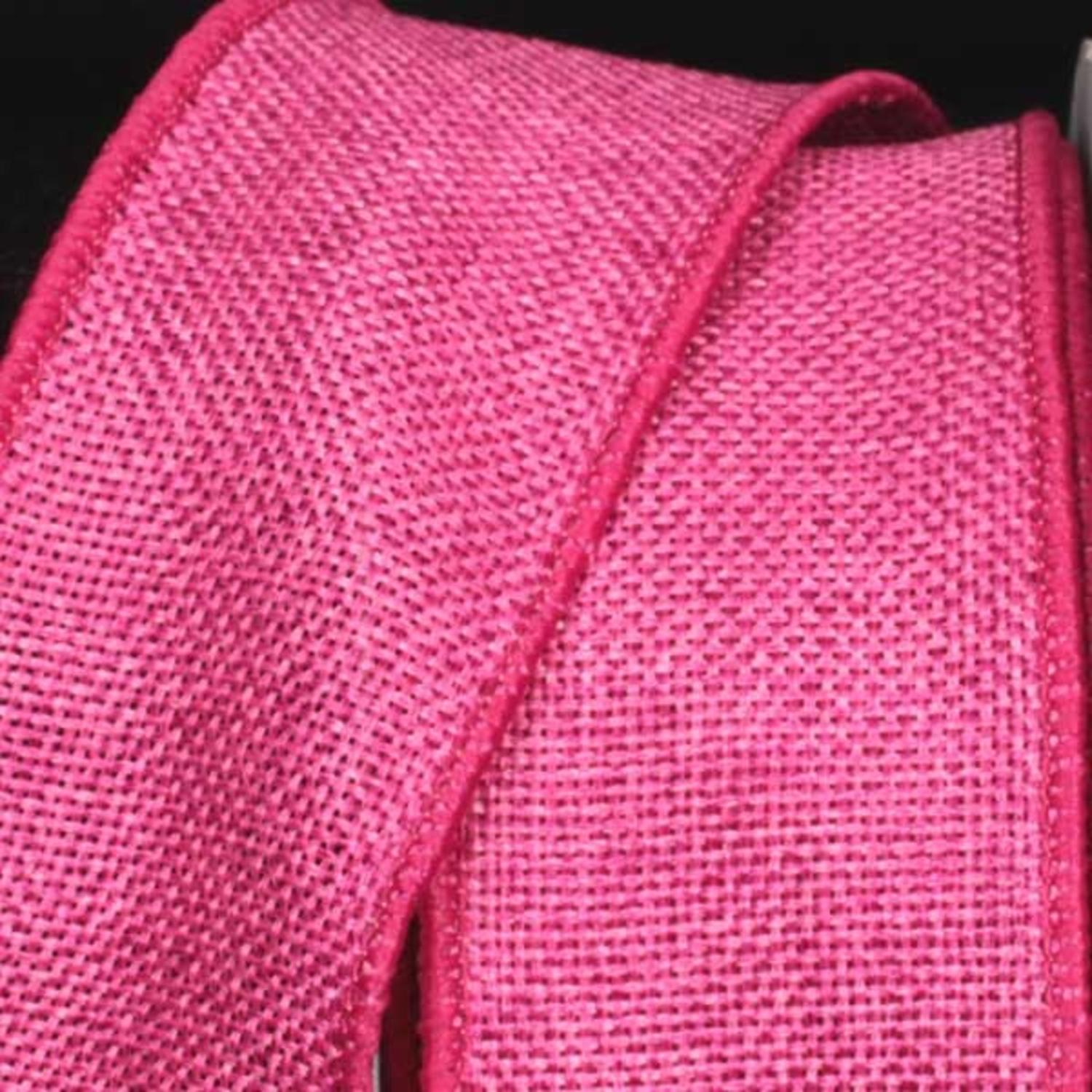 "Pink Wired Fine Burlap Craft Ribbon 2"" x 40 Yards"
