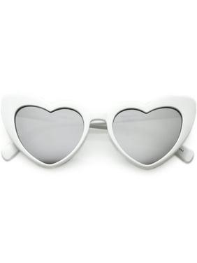 7c030e91731 sunglassLA - Women s Oversize Chunky Heart Sunglasses Colored Mirror Lens  51mm - 51mm
