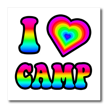 3dRose Groovy Hippie Rainbow I Heart Love Camp - Quilt Square, 6 by 6-inch