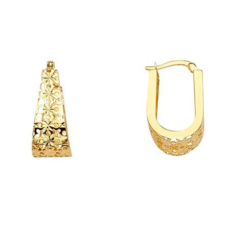 FB Jewels 14K Yellow Gold Filigree U Shape Hoop Womens Earrings 23MM X 13MM (Shape Filigree Design)
